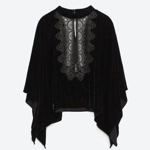 Zara Woman Embroidered Velvet Cape Top